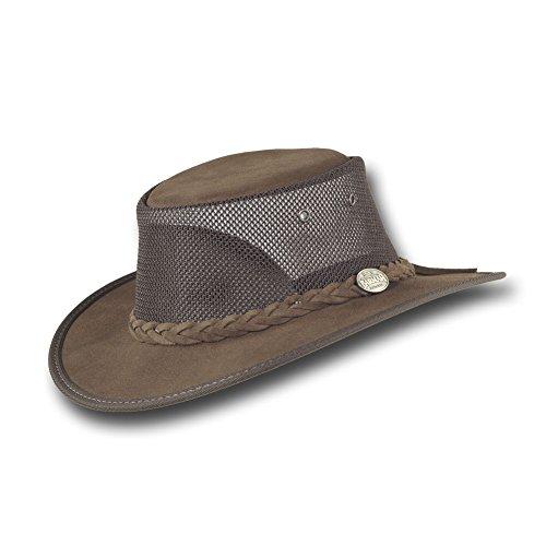 Barmah Hats Foldaway Cattle Suede Cooler Leather Hat - 1064BR / 1064HI / 1064LM (Large, Brown)