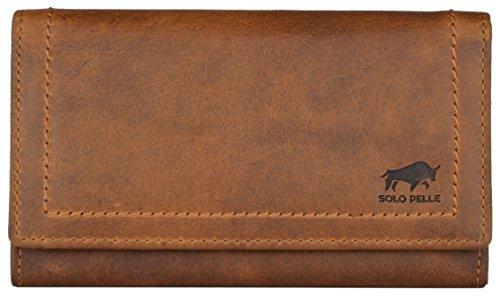 """Solo Pelle Damen Portemonnaie groß aus echt Leder I Geldbeutel für Frauen """"Oslo"""" lang mit vielen Fächern I Portmonee I Geldbörse I Ledergeldbeutel Vintage Braun"""