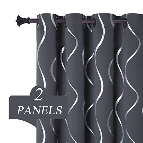 Estelar Textiler Thermal Insulated Blackout Curtains for Bedroom Grommet Top Curtains 84 inch Length Curtain Panels for Living Room, 52W×84L, 2 Panels, Dark Grey