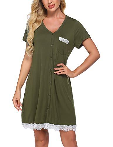 Ekouaer Sleepwear Womens Nightgown Short Sleeve Sleep Nightdress Scoopneck Sleep Tee Nightshirt