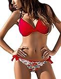Tuopuda Mujer Multicolor Cabestro Bikini Conjuntos de Cintura Baja Ajustable Bikini Inferior Impresa Raya Playa Traje de Baño