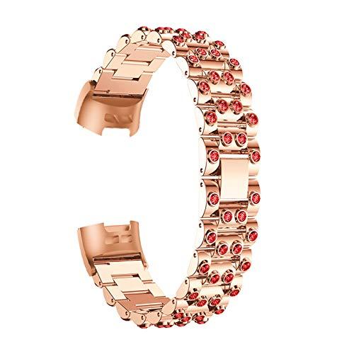 Correas De Reloj De Diamantes De Imitación Compatible con Charge 3 / Charge 4, Pulsera De Repuesto Correa De Metal Bandas De Acero Inoxidable Band con Purpurina Joyas Compatible con Charge 3/4,D