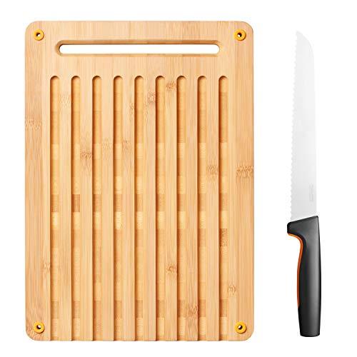 Fiskars FF - Juego de tablas de cortar pan y cuchillos (bambú)