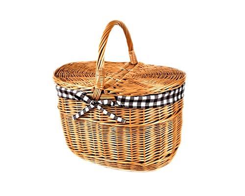 MyBer® mand picknickmand draagmand met 2 deksels rieten mand volledig wilgenmand gevlochten boodschappenmand K12-027-SBRW