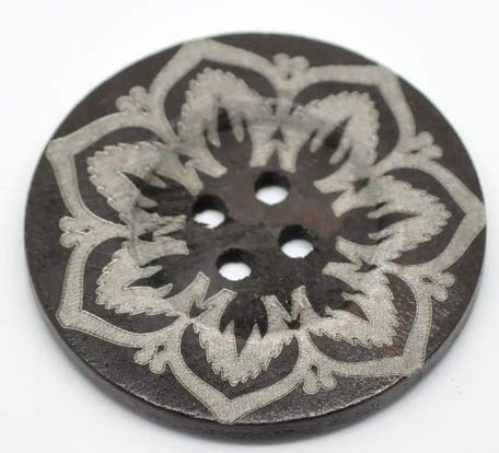 Handarbeit-Lieblingsladen 5 Stück Premium Holzknöpfe zum aufnähen, Blumenmuster - Dunkelbraun - 6 cm - Mantelknöpfe, Scrapbooking, Deko