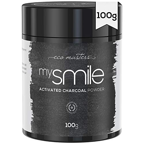 mysmile Aktivkohle Pulver 100g - Natürlich aus Kokosnuss - Aktivkohlepulver für weiße Zähne - Teeth Whitening Activated Charcoal Powder - Zahnaufhellung Pulver - Vegane & Geprüfte Zutaten