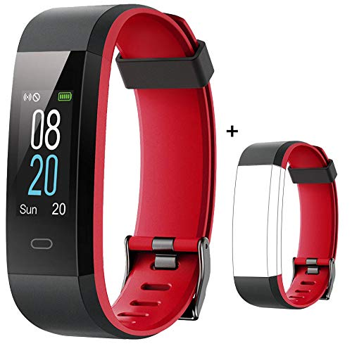 Willful Fitness Tracker with Heart Rate Monitor IP68 Waterproof, Activity Tracker (14 Modes) Pedometer with Step Counter Sleep Monitor,Color Screen,Fitness Watch for Women Men (S_Red+Red Band)