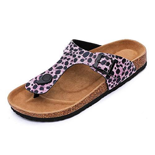 COQUI Zapatillas casa Mujer,Manejar Zapatillas de Corcho Sandalias de Piel Suave de impresión saltadas-Rosa_37