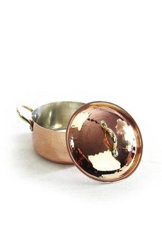 'CopperGarden' 1,5 Liter Kupfertopf mit Deckel - 16 cm Durchmesser - in schwerer Qualität handgeschmiedet und lebensmittelecht verzinnt
