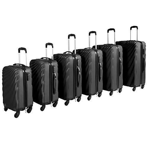 Großes 6-TLG Luxus Hartschalen Kofferset Reisekofferset Reiseset Trolley Trolly Reise Set Koffer inkl. Kofferwaage, Farben:Schwarz
