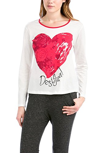 Desigual TS LS Heart Camiseta, Blanco, L/XL para Mujer
