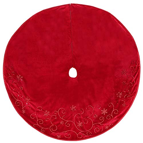 New Traditions Simplify Your Holiday 48 in Velvet Tree Skirt with Sequined Vines and Taffeta Piping (Red)