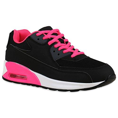 stiefelparadies Damen Sport Lack Sneakers Schnürer Sneaker Low Lauf Runners Neon Leder-Optik Camouflage Schuhe 125847 Schwarz Pink Weiss 37 Flandell