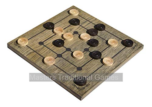 Masters Traditional Games Medieval Nine Men's Morris Board Game by Premium 27cm Laser Engraved Resin Board Boxwood Pieces - Made in UK