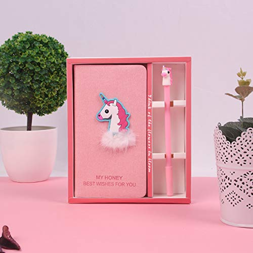 Cuaderno Unicornio y Boligrafo, Libreta Cosas Diario Unicornio rosado y peludo con juego de...