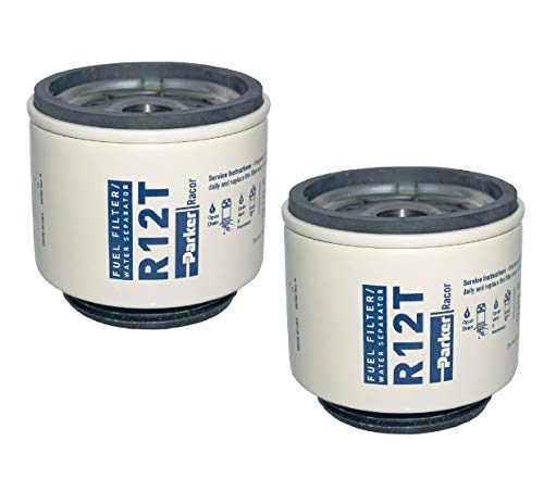 R12T Racor - Parker Fuel Filter Water Separator (Pack of 2) 10 Microns Aquabloc, Series 120A, 140R