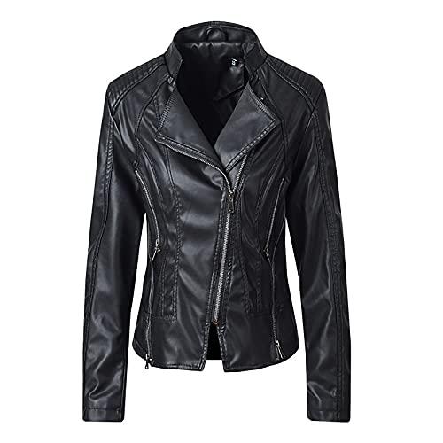 Jackets for Women Motorcycle Windbreaker Jacket Trendy Faux Leathe Tops Fall & Winter Long Sleeve Lightweight Blouse Black