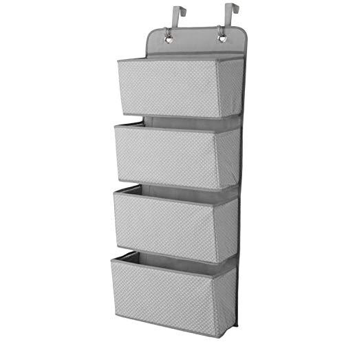 Almacenamiento caja SHIHONGPING Artículos del Hogar sencilla 4 de bolsillo que cuelga bolsa de almacenamiento pared del armario organizador a través de la puerta de tela Juguete del organizador del bo