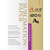 A-SUB Papel de sublimación A4, 210x297 mm, 100 hojas, 120 g/m², Compatible con la impresora de sublimación EPSON, SAWGRASS, RICOH, BROTHER