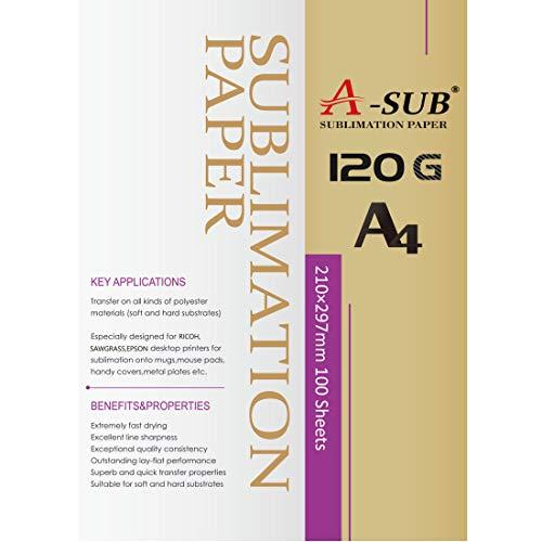 A-SUB, papel de sublimación A4, 210x297 mm, 100 hojas, 120 g/m2, compatible con todas las impresoras de inyección de tinta