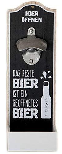 G.H. Robuster Flaschenöffner im Vintage Stil zur Wandmontage aus Holz, mit Metall Kapselheber, Masse 30 x 10 cm, Ausführung mit Spruch: DAS Beste Bier, tolles Geschenk