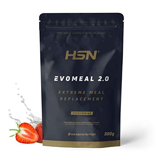 Batido Sustitutivo de Comida Evomeal de HSN | Batido Sin Gluten Apto para Vegetarianos | Proteínas + Carbohidratos + Vitaminas + Minerales + CLA | Sabor Fresa, 500 gr