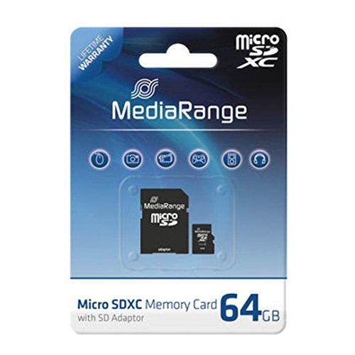 MediaRange 64GB MicroSDXC 64GB MicroSDXC Class 10 Speicherkarte - Speicherkarten (MicroSDXC, Schwarz, Class 10, SD, Blister)