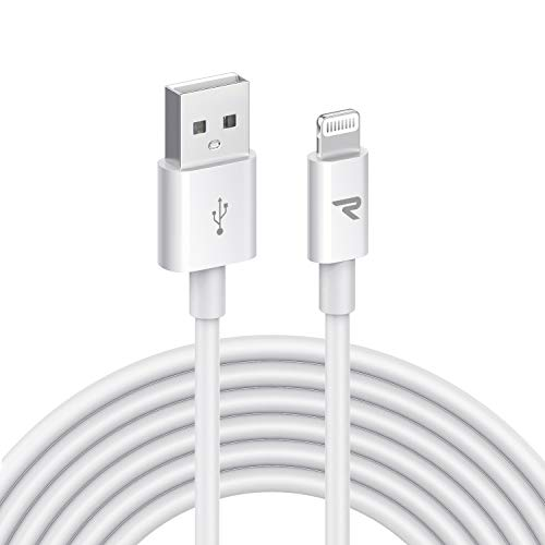 RAMPOW Cavo Lightning 3m, Cavo iphone 3m, [Certificato Apple MFi] Caricatore Cavo iPhone Compatibile con Apple iPhone 11/X/XS/XR/8/7/6s/6/5c/5s/5, iPad, iPod - Bianco 3M