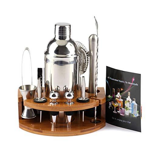 Cocktail Shaker Set [12 pezzi] accessori per bar Con shaker per cocktail da 750 ml, jigger, supporto in legno, incluse ricette per cocktail, ecc.