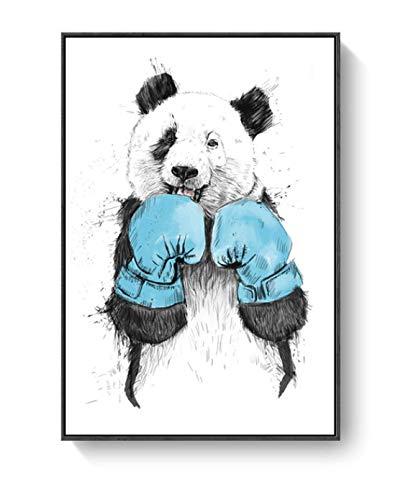 DIANFANBAO Boxer Panda Cute Animal Decoration Canvas Painting Nordic Panda Boxing Panda Living Room Kindergarten Wall Hanging Painting Art 40X60Cm Sin Marco