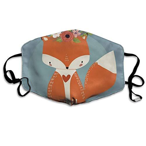 Bequeme Winddichte Maske, Grüße zum Kommen der Sommersaison Zeichnung eines Fuchses mit blühenden Blumen