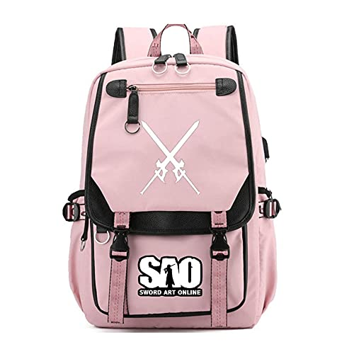 CXWLK Sword Art Online Mochila Para Universidad Chicas Mochilas Escolares Juveniles Deporte Playa Viaje Compras Bolsa Mochila Para Deporte Pink 46CMX31CMX19CM