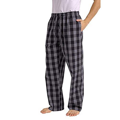 Pantalones de Pijama a Cuadros Sueltos Casuales de Moda para Hombre cómodo Casual pantalón Largo Pantalones Rectos otoño e Invierno Pantalones caseros Estampados Gris 418