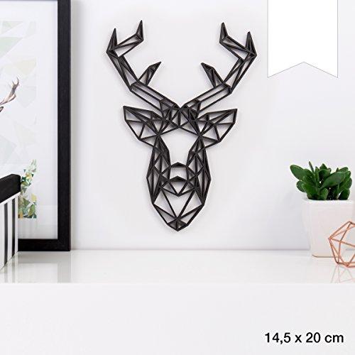 KLEINLAUT 3D-Origamis aus Holz - Wähle EIN Motiv & Farbe - Hirschkopf - 14,5 x 20 cm (M) - Weiß