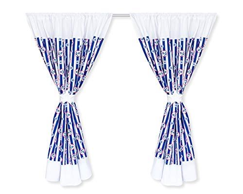 Amilian Kinderzimmer Vorhänge 155 x 155 cm Set mit Schlaufen Baby Gardinen Vorhang aus Baumwolle Sonnenschutz für Kinder Zimmer Muster: Streifen Blau mit Anker