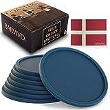 Azúl Posavasos BARVIVO, juego de 8 – Protección para mesas de cualquier tipo: madera, granito, vidrio, esteatita, arenisca, mármol, piedra – Posavasos suave perfecto para vasos de cualquier tamaño.