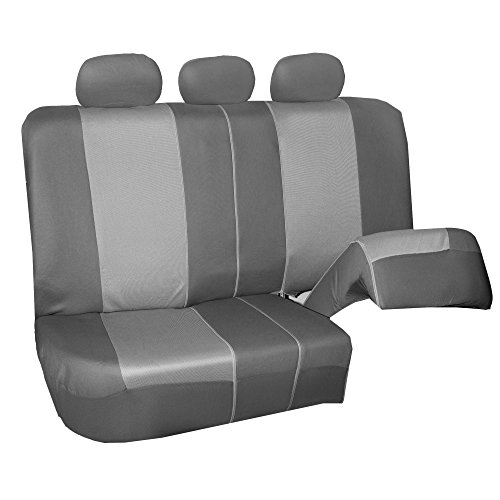 FH Group FB101115 Supreme Twill Fabric High-Back Full Set Car Seat Covers, Airbag and Split Ready, Light/Dark Gray Color- Universal fit for Car, Truck, SUV, or Van