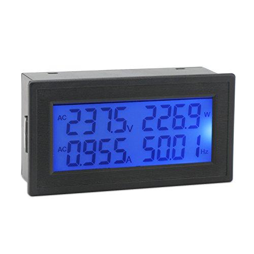 AC Digital Multimeter, DROK Voltmeter Ammeter AC 60-500V 20A Voltage Frequency Current Power Factor Energy Meter Volt Amp Watt Power Gauge Monitor LCD Display Blue Backlight with Built-in Shunt