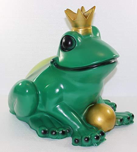 OM Deko Figur Froschkönig groß Höhe 35 cm Gartenfigur Teichfigur aus Kunststoff