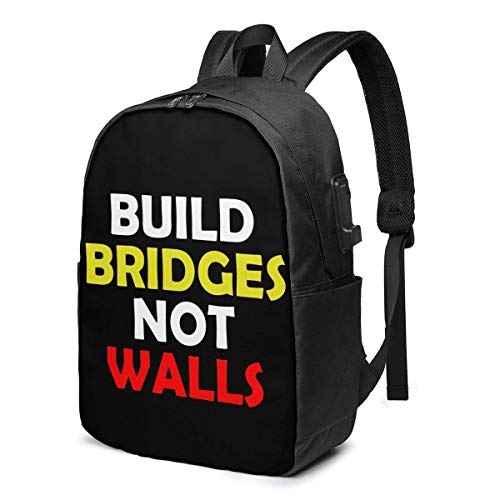 AOOEDM Build Bridges Not Walls Laptop Backpack Water Resistant College School Bag with USB Charging Port