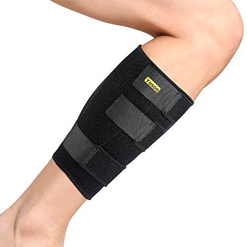 yosoo Sportbandage, Kniebandage, verstellbar Wade Schutz molletiere Neopren für Muskelschmerzen-Syndrom Spannung geeignet Männer und Frauen Schwarz