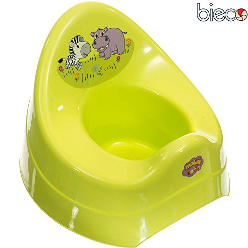 Bieco Baby Töfchen Zoo mit Musik in grün, Spritzschutz, hohe Rückenlehne: Baby Töpfchen mit Musik Lerntöpfchen Toilettentrainer Babytopf Topf Kinder WC
