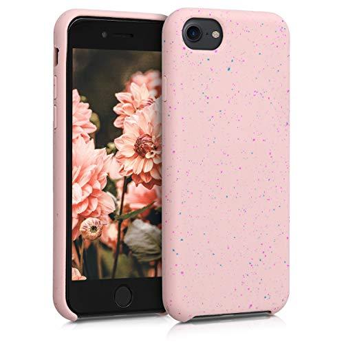 kwmobile Cover in silicone compatibile con Apple iPhone 7/8 / SE (2020) - con protezione per fotocamera - Custodia in silicone TPU e microfibra - Back Cover Schizzi fucsia/blu/rosa antico