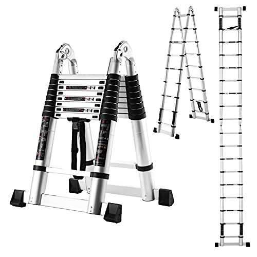 18.5 FT/9FT Aluminum Telescoping Ladder, 2 in 1...