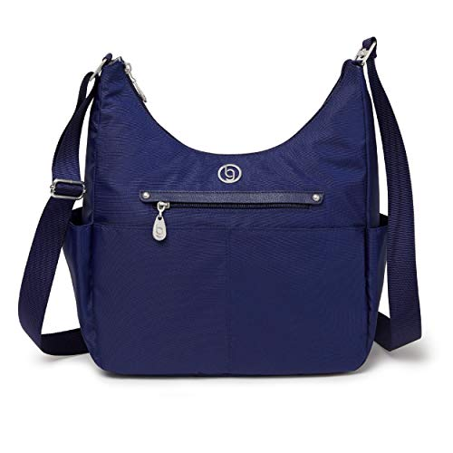 BG by Baggallini Phoenix Hobo Bag - Lightweight, Water-Resistant Travel Purse With Multiple Pockets, Adjustable Strap, Luggage Sleeve, and RFID Protection, Navy