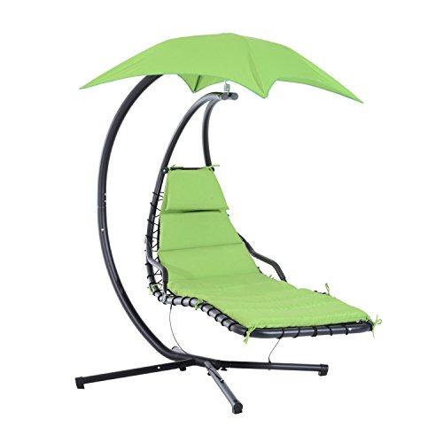 Outsunny Hängeliege Schwingliege Hängeschaukel Sonnenliege Gartenliege Hollywoodschaukel mit Sonnendach Metall + Polyester Grün 194 x 110 x 192 cm