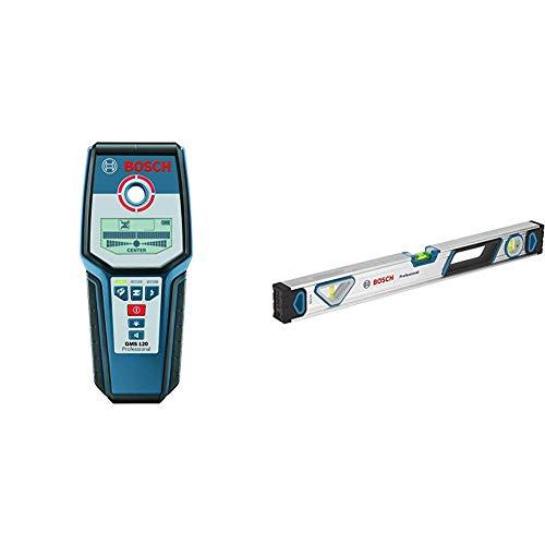 Bosch Professional Digitales Ortungsgerät GMS 120 (1x 9V Batterie, max. Ortungstiefe Stahl/Kupfer/stromführende Leitungen: 120/80/50 mm, in Schutztasche) + Wasserwaage (Länge: 60 cm)