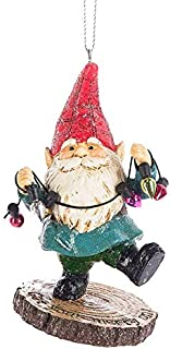 On Holiday Gnome with Red Hat and Christmas Lights Christmas Tree Ornament