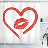 UKSILYHEART Shower Curtain 72x80 Inches Kiss Bath Curtain, Heart Drawn in Lipstick and Woman Lip Romance Passion and Tenderness Message, Cloth Fabric Bathroom Decor Set with Hooks, White Vermilion