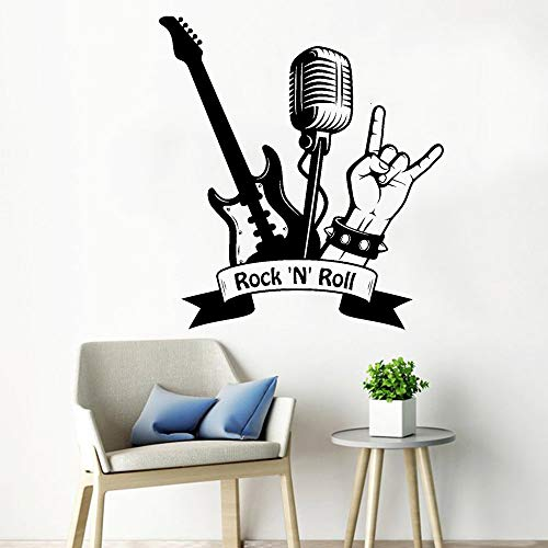 JXMK Coole vinyl wandtattoo rock rol gitaar microfoon muzieksticker Home Decor muziek Pub Mode Teen Room Decoratie Muursticker 92x84cm